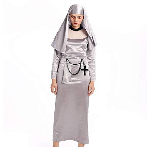DUQA Halloween Zombie Cosplay Horror blutige Nonne blutige Nonnen Kost¨¹m Halloween - Schwester Nonne Kostüm