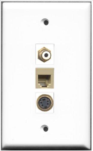 RiteAV-1RCA und 1Port RJ11, RJ12, beige und Tasche weiß 1port S-Video-Wanddose -