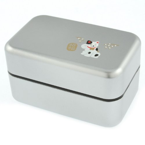 Kotobuki 2-Tiered Bento Box, silber Maneki Neko Lucky Cat (Kotobuki-bento)