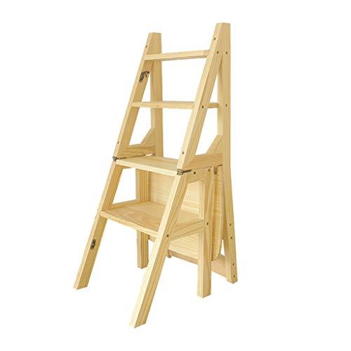 Mehrere Szenen Vierlagigen Leiterrahmen, Einseitige Holzleiter Mehrzweckstuhl Schlaf/Bürostuhl Kinderzimmer Holzstuhl ChenB (Color : Natural, Size : 37 * 46 * 90CM)