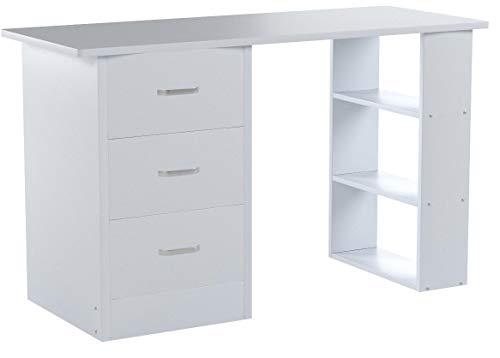 Redstone Weiß Schreibtisch - 3 Schubladen + 3 Regale - Arbeitstisch Computertisch Bürotisch