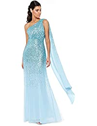 b2dd2408109 Goddiva Sequin Chiffon Sash One Shoulder Maxi Evening Dress Bridesmaid Prom