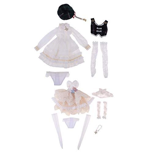 CUTICATE 2 Sets Schöne Mädchen Prinzessin Kostüm Kleidung Bekleidung Kleider Anzug Outfit Für 1/4 Bjd - Doll Kleid Kostüm