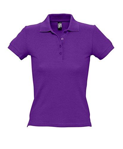 SOLS femmes personnes Polo à manches courtes Tissu piqué Violet - Violet foncé