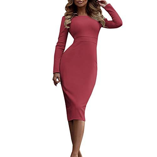 Produp Frauen Jugend Mode Dresse Plus Größe Langarm Rollkragen Feste Bleistift Kleid Bodycon Mini Kleid Abend Party Kleid -