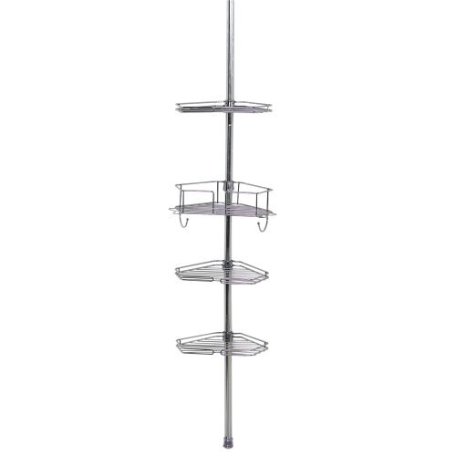 Tension Pole Caddy (Zenna Home 2190SS, Tension Corner Pole Caddy, Chrome by ZPC Zenith Products Corporation)