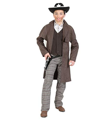 KarnevalsTeufel Kinderkostüm-Set Cowboy 4-teilig Western-Mantel mit Cowboyhut in schwarz, Revolver-Gürtel und Spielzeug-Revolver Sheriff Wilder Westen (140)