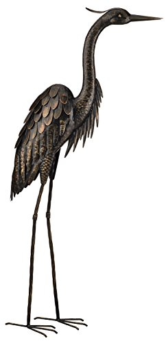 large-creekwood-regal-art-gift-115cm-high-powder-coated-metal-bird-statue-ornament-with-6-inch-groun