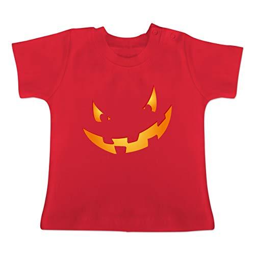 Anlässe Baby - Kürbisgesicht klein Pumpkin - 1-3 Monate - Rot - BZ02 - Baby T-Shirt Kurzarm (Kürbis Kostüm Pi)
