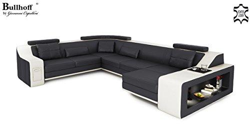 XXL Wohnlandschaft Leder grau / schwarz Couch Sofa U-Form Ledersofa Ledercouch Designsofa mit LED-Licht Beleuchtung EMPORIO - 2