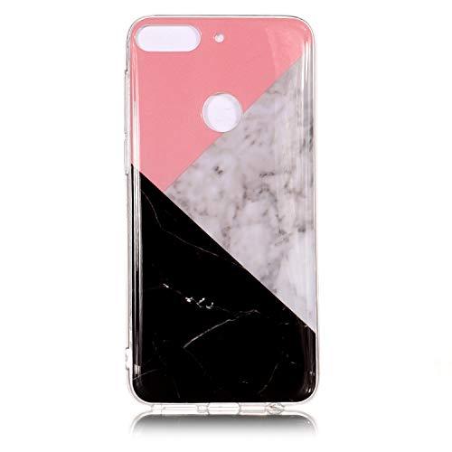 BONROY Marmor Hülle,Silikon Handyhülle Schlank TPU Bumper Handytasche Flexible Schutzhülle Soft Back Cover Protective Gummi Dünn für HTC Desire 12 Plus-(Marmor-Tricolor)