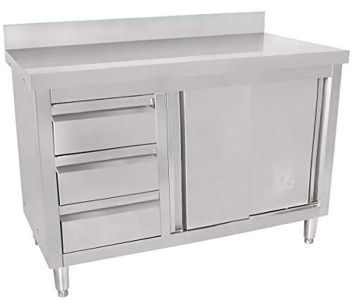 Beeketal 'BAS-Serie' Gastro Edelstahl Küchenschränke mit 3 Schubladen (links oder rechts), 2 Rolltüren und 4 verstellbaren Standfüßen, Küchen Arbeitsplatte mit 10 cm