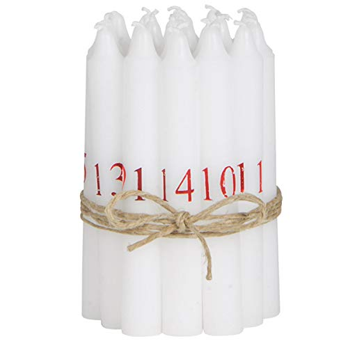 Adventskerzen 1-24 weiß mit Zahlen (24 St.)