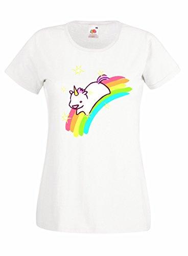 Settantallora - T-shirt Maglietta donna J1197 Crazy Unicorn Rainbow Taglia M