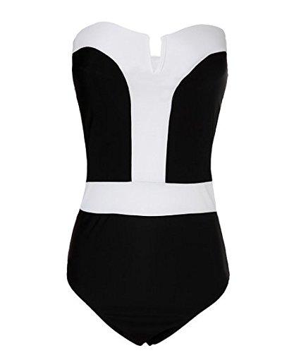 Angelwing Damen Badeanzüge Weißen Rand Tankini Bademode Push up Bikini-sets Schwimmanzug Sandstrand Weiß