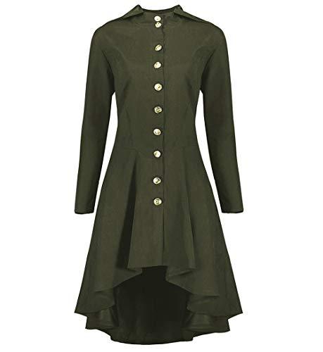 UFODB Steampunk Jacke Damen Schwarz Button Trench Coat Renchcoat Lang Parka Jacke Gothic Windbreaker Zurück Weben Hooded Blazer Slim Fit Mantel Tops - Weben Blazer Jacke