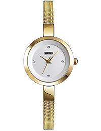 f86731d54d8d Relojes Pulsera Esfera pequeña Ultra-Fino Escala Rhinestone Relojes Mujer  Correa de Malla de Acero…