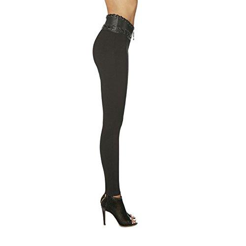 Legging push-up luxe large ceinture style cuir Noir