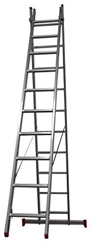 Homelux 825017 Escalera Aluminio Doble, 2.5 + 2.5 m, 2 x 9 Peldaños, 10.25 kg