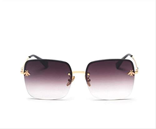 shengbuzailai Retro quadratische Sonnenbrille-Frauen- Metallrahmenlose Steigungs- Sonnenbrille- Unisexweinlese-Bienen-Schatten A2