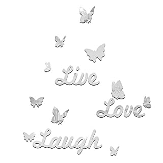 samLIKE Live Laugh Love Quote and Sweet Heart Wall Stickers, 3D Mirror Acrylic Removable Mirror Wallpaper Art Decal Bedroom Romantic Decor (S, Silver)