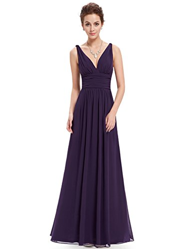 Ever Pretty Damen V-Ausschnitt Lange Chiffon Abendkleider Festkleider 38 Dunkel Violett