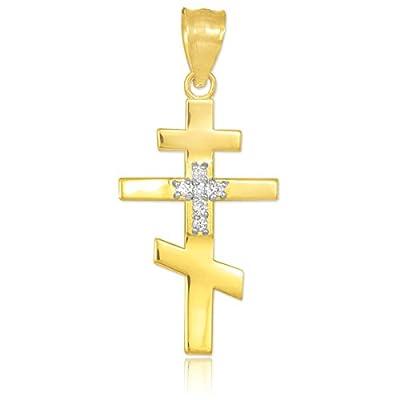 10 Karat Diamant verzierte Gold-russisch-orthodoxen Kreuz Anhänger