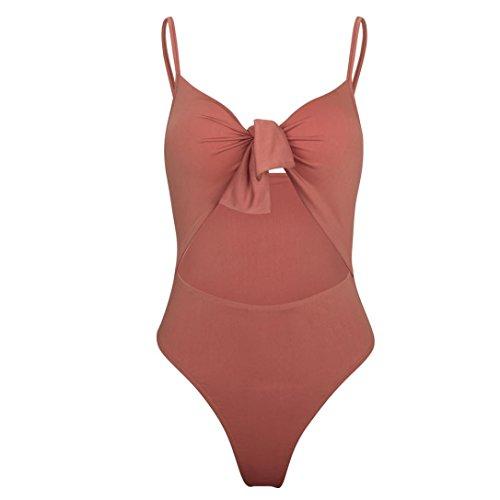 Witsaye Costume da Bagno Donna Intero Bikini Intero Moda Svuotare Body Bikini Jumpsuit Reggiseno Imbottito Push-up Spiaggia Bikini Solido Costumi da Bagno Interi Rosa