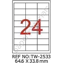TANEX TW-2004 Wiederablösbare Etiketten 99,1x139 mm weiß 100 Etiketten 25 Bl
