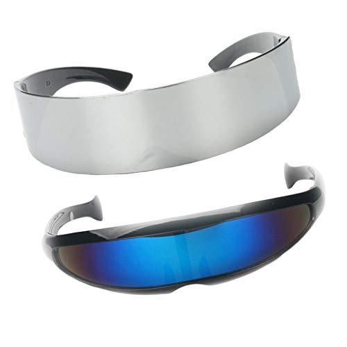 Non-brand 2pcs Blau Silber Roboter Alien Brillen Sonnenbrillen Cosplay Kostüm