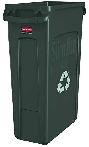 Rubbermaid Commercial Vented Slim Jim Recycling Bin Waste Receptacle, 87 Litres, Green, Plastic, FG354007GRN