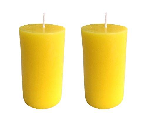 Collumino amarillo velas 40horas de tamaño 10x 5,5cm, Amarillo, Pack de 2