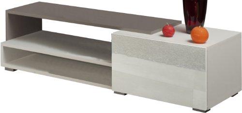 Symbiosis Meuble TV-LOGO-1 Tiroir-Corps blanc taupe-façade blanche laquée brillante-120 cm/3254A0119L02