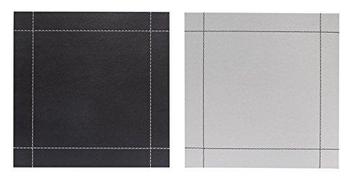 Lot de 4 sets de table simili cuir Stitch Noir et blanc Sets de table réversibles