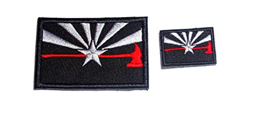 B46 Firefighter Arizona-Flagge, dünne rote Linie, Axt Fire Rescue EMT EMS bestickte Morale Patch 2 Stück 7,6 x 5,1 cm und 3,8 cm Hakenrückseite (Arizona Velcro Patch)