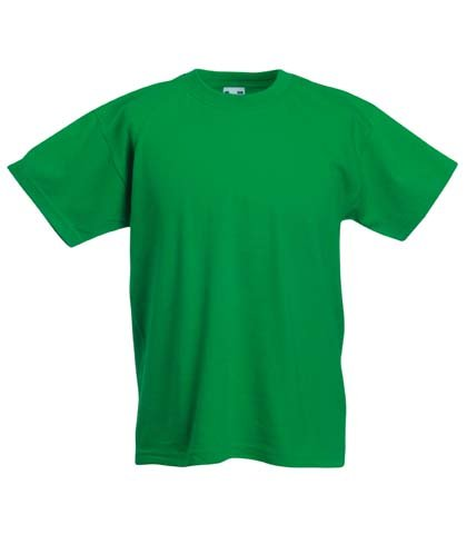 Fruit of the Loom Childrens T Shirt in Kelly green Size 9-11 (SS6B)