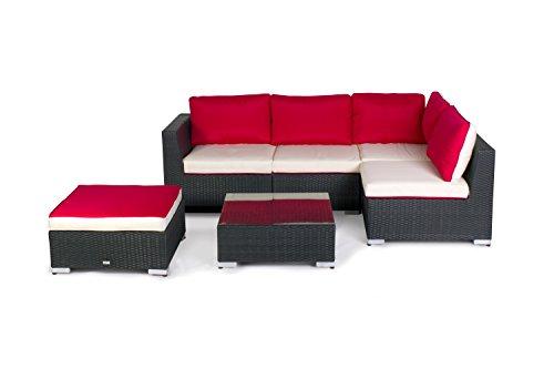 gartenmoebel set angebote Vanage Gartenmöbel Set XXL für Garten, Balkon und Terrasse, Madrid in Rattanoptik Polyrattan, rot/weiß