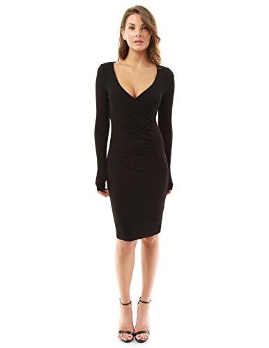 PattyBoutik Women's Crossover V Neck Long Sleeve Dress (Black 14)