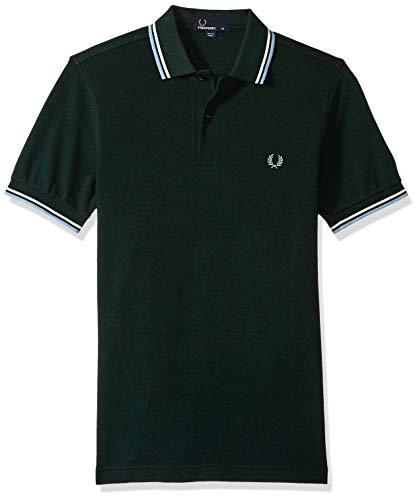 Mens Short Sleeve Oxford Shirt (Fred Perry Herren Poloshirt mit Doppelspitzen Gr. S, Ivy Black Oxford/Snow White/Glacier)