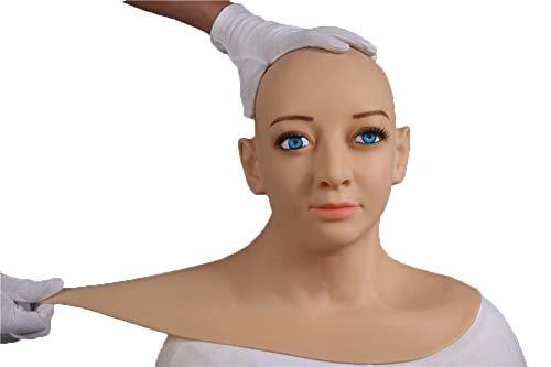BZDJS Silikon Realistische Dame Kopfmaske Handgemachtes Gesicht für Crossdresser Transgender Cosplay Halloween Maskerade COS Transvestite,MouthOpen