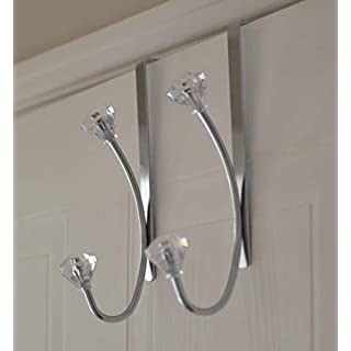 Set Of 2 - 4 Hook Over Door Crystal Towel Clothes Hanger