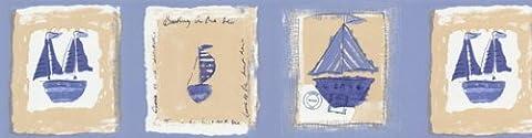Light Blue Ahoy Matey Sailing Prepasted Wall Border Roll