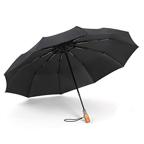 JUNDY Regenschirm, Taschenschirm, Kompakter Falt-Regenschirm, Klein, Leicht, Reiseschirm Winddichter schwarzer Kunststoff dreifach gefaltete automatische Massivholzfarbe1 105cm