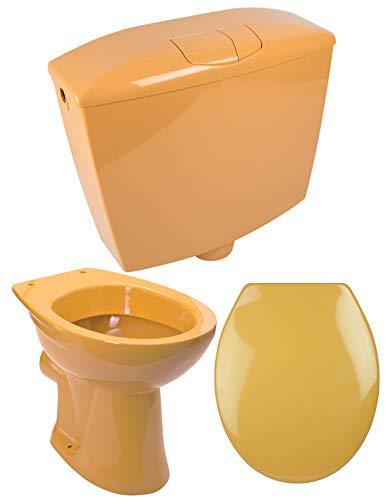 Calmwaters - Komplettset in Curry-Gelb aus Stand-WC als Tiefspüler, WC-Sitz mit Absenkautomatik & Spülkasten - 99000183