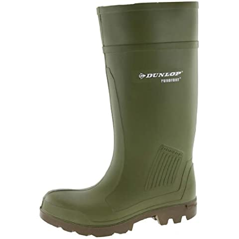 Dunlop verde–Botas de goma de Dunlop purofort Professional con tapa de acero y protección de pedalada en 345S5, 48/49