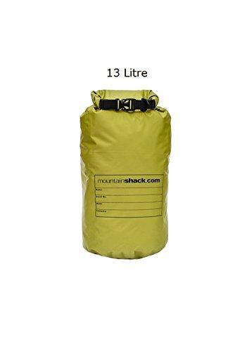 MountainShack - Borse impermeabile per campeggio, kayak, canoa e trekking, Olive, 13 litri