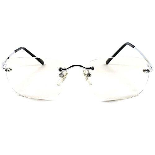 Preisvergleich Produktbild Neutrale Gläser Kult-Stil MATRIX Sci-Fi-Aviator RANDLOSE Brillen Rahmen-RETRO MMF - SILVER