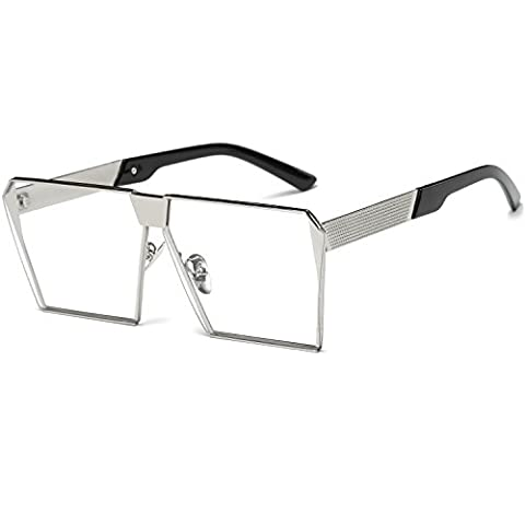Dollger Oversized Square Shield Sunglasses Fashion Flat Top Sunglasses Metal Frame(Clear Lens+Silver