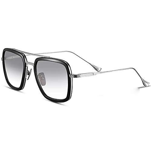SHEEN KELLY Qualità Eccellente Luxus Retro Sonnenbrille Square Flight Brille Gold Metallrahmen für Herren Tony Stark Sonnenbrille Derselbe Absatz Transparente Linse Farbverlauf Grau -