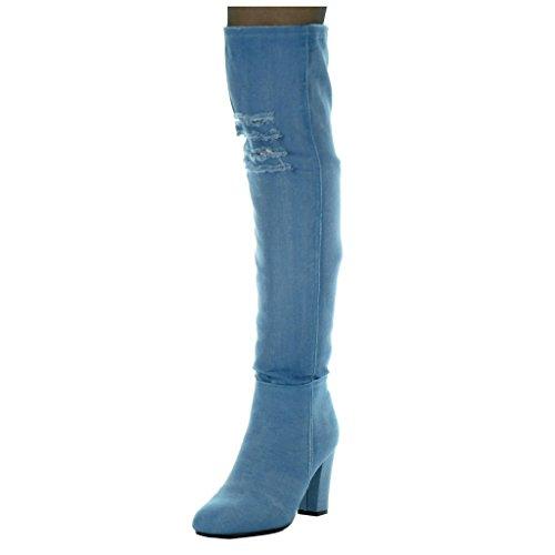 Angkorly - Chaussure Mode Cuissarde cavalier Jeans Denim souple femme déchiré Talon haut bloc 8.5 CM Bleu